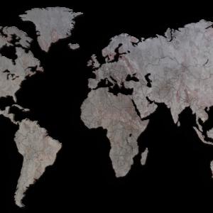 MapaWall-StoneCut-world-map-Arctic-Red