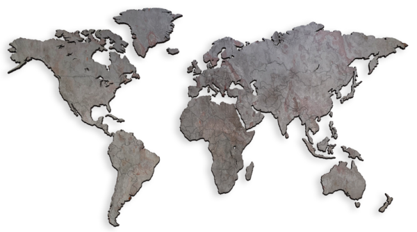 MapaWall-StoneCut-world-map-Arctic-Red